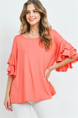 S16-10-1-PPT2229-SPORG-1 - BOATNECK LAYERED RUFFLE SLEEVES TOP- SUPER ORANGE 0-2-2-2