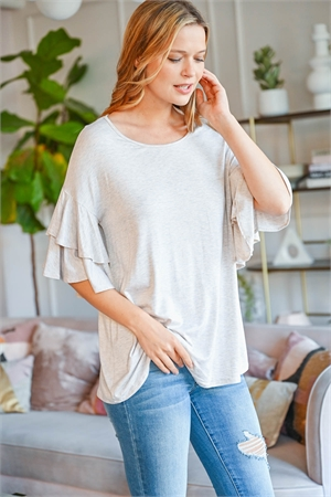 S11-15-1-PPT2229-SXOTM - BOATNECK LAYERED RUFFLE SLEEVES TOP- SEXY OATMEAL 1-2-2-2