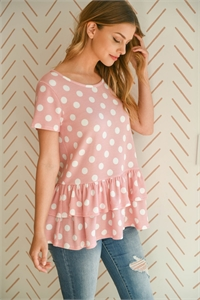 S8-9-4-PPT2232-PKOFW - SHORT SLEEVES LAYERED RUFFLE HEM POLKA DOT TOP- PINK/OFF-WHITE 1-2-2-2