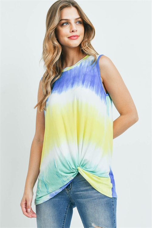 S11-15-4-PPT2234-BL - TIE DYE SLEEVELESS ROUND NECK KNOT TOP- BLUE 1-2-2-2