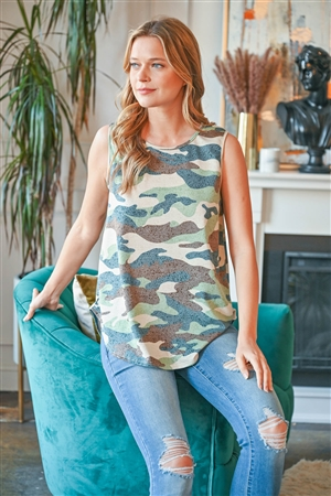 S9-20-3-PPT2236-BWNSG-1 -CAMO PRINT ROUND NECK TANK TOP-BROWN/SAGE 0-2-2-2