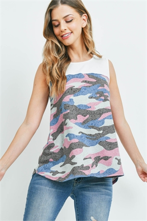 S10-13-3-PPT2239-IVMVBL-1 - SOLID CONTRAST CAMO PRINT SLEEVELESS SWING TOP- IVORY/MAUVE/BLUE 0-2-2-2