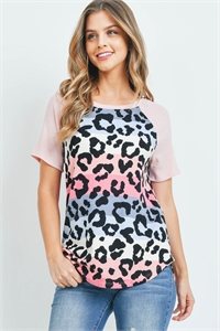 S10-3-3-PPT2243-PKBLPKBLS - MULTICOLOR STRIPES LEOPARD PRINT RAGLAN TOP- PINK BLUE/PINK BLUSH 1-2-2-2