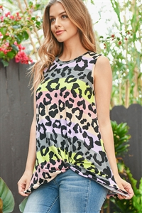 S10-20-3-PPT2244-PPLLM-1 - MULTICOLOR STRIPES LEOPARD PRINT TANK TOP- PURPLE/LIME 0-2-2-2