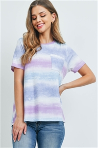 S15-9-1-PPT2247-LVDPPL-1 - ROUND NECK TIE DYE POCKET TOP- LAVENDER/PURPLE 0-1-2-2