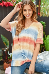 S14-11-2-PPT2248-BLPKTP-1 - V-NECK TIE DYE TWIST FRONT TOP- BLUE/PINK/TAUPE 0-1-2-2