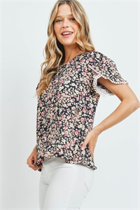S10-6-3-PPT2249-BK - POMPOM DETAIL SLEEVES FLORAL PRINT TOP- BLACK 1-2-2-2