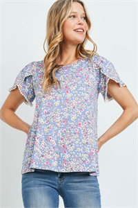 S9-5-3-PPT2249-DNM - POMPOM DETAIL SLEEVES FLORAL PRINT TOP- DENIM 1-2-2-2