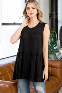 S15-11-2-PPT2251-BK-1 - TIERED RUFFLE SOLID TANK TOP- BLACK 1-2-0-2