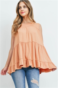 S8-8-4-PPT2251-CHD - TIERED RUFFLE SOLID TANK TOP- CHEDRON 1-2-2-2