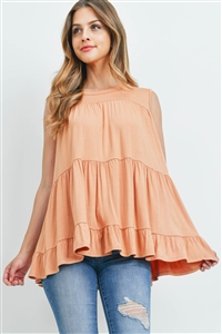 S15-11-2-PPT2251-CHD-1 - TIERED RUFFLE SOLID TANK TOP- CHEDRON 1-1-2-2