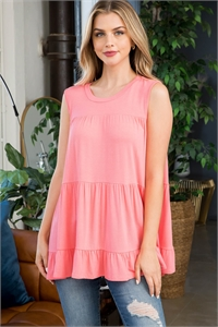 S15-11-2-PPT2251-CRL-1 - TIERED RUFFLE SOLID TANK TOP- CORAL 1-1-2-2