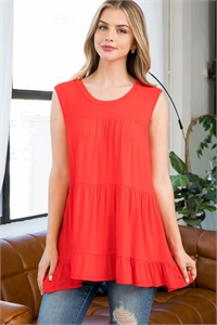 S8-2-3-PPT2251-LTRD - TIERED RUFFLE SOLID TANK TOP- LIGHT RED 1-2-2-2