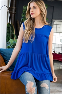 S8-3-3-PPT2251-RYLBL - TIERED RUFFLE SOLID TANK TOP- ROYAL 1-2-2-2