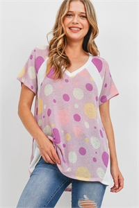 S14-11-2-PPT2252-LVDMLTIV-1 - MULTI-COLOR POLKA DOTS V-NECK TOP- LAVENDER/MULTI/IVORY 0-0-1-2