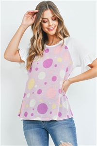 S15-9-1-PPT2253-LVDIV-1 - RUFFLE RAGLAN SLEEVES MULTI-COLOR POLKA DOT TOP- LAVENDER/MULTI/IVORY 0-2-2-2