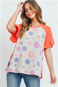 S4-1-4-PPT2253-OTMCRL - RUFFLE RAGLAN SLEEVES MULTI-COLOR POLKA DOT TOP- OATMEAL/MULTI/CORAL 1-2-2-2
