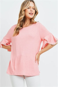 S9-4-4-PPT2255-BBYCRL - POMPOM BELL SLEEVES BRUSHED TOP- BABY/CORAL 1-2-2-2
