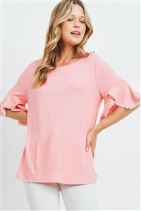 S15-11-3-PPT2255-BBYCRL-1 - POMPOM BELL SLEEVES BRUSHED TOP- BABY/CORAL 0-1-2-1