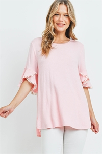 SA3-0-4-PPT2255-BBYPK - POMPOM BELL SLEEVES BRUSHED TOP- BABY/PINK 1-2-2-2