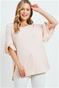 S15-11-3-PPT2255-ND-1 - POMPOM BELL SLEEVES BRUSHED TOP- NUDE 0-2-2-2