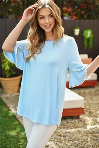 S9-4-4-PPT2255-SKBL - POMPOM BELL SLEEVES BRUSHED TOP- SKY BLUE 1-2-2-2