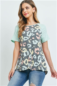 S15-11-3-PPT2264-BKCBDMNT-1 - RAGLAN SLEEVES LEOPARD POCKET TOP- BLACK COMBO/DUSTY MINT 0-2-2-2