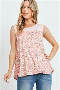 SA3-000-1-PPT2267-CRLIVBLS - STRIPES CONTRAST FLORAL PRINT TANK TOP- CORAL IVORY/BLUSH 1-2-2-2