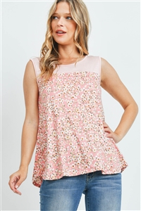 SA4-7-2-PPT2267-CRLIVBLS-1 - STRIPES CONTRAST FLORAL PRINT TANK TOP- CORAL IVORY/BLUSH 0-1-2-2