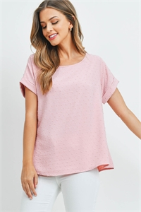 SA4-00-3-PPT2269-BLS - SWISS DOT SHORT SLEEVES BOAT NECK TOP- BLUSH 1-2-2-2