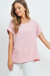 S16-11-5-PPT2269-BLS-1 - SWISS DOT SHORT SLEEVES BOAT NECK TOP- BLUSH 0-0-1-2