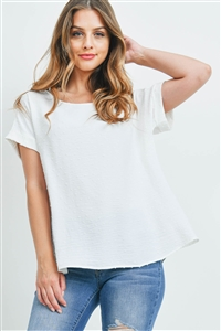 S16-11-5-PPT2269-IV-1 - SWISS DOT SHORT SLEEVES BOAT NECK TOP- IVORY 1-2-1-2