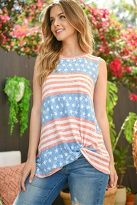 S15-11-2-PPT2270-DNMCRL-1 - AMERICAN FLAG KNOT TANK TOP- DENIM CORAL 0-0-2-1