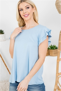 S12-1-1-PPT2276-BBYBL - BOAT NECK RUFFLE CAP SLEEVE SOLID TOP- BABY BLUE 1-2-2-2