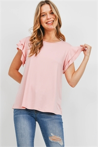 S15-1-1-PPT2276-BLS - BOAT NECK RUFFLE CAP SLEEVE SOLID TOP- BLUSH 1-2-2-2