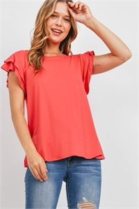 S14-1-1-PPT2276-CRL - BOAT NECK RUFFLE CAP SLEEVE SOLID TOP- CORAL 1-2-2-2