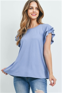 S9-18-2-PPT2276-DNM-1 - BOAT NECK RUFFLE CAP SLEEVE SOLID TOP- DENIM 0-2-1-0