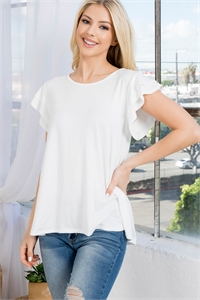 S10-1-1-PPT2276-IV - BOAT NECK RUFFLE CAP SLEEVE SOLID TOP- IVORY 1-2-2-2