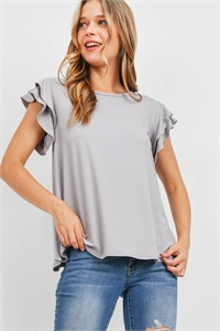 S20-1-1-PPT2276-LTGY - BOAT NECK RUFFLE CAP SLEEVE SOLID TOP- LIGHT GREY 1-2-2-2