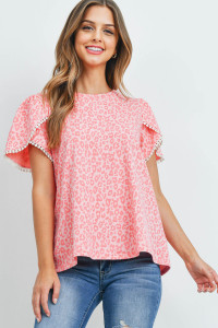 S9-19-3-PPT2277-CRL-1 - POMPOM DETAIL TULIP SLEEVES LEOPARD TOP- CORAL 0-1-2-1