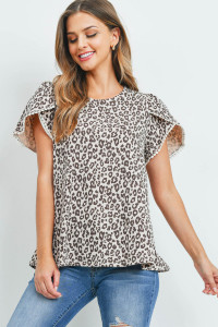 S9-19-3-PPT2277-TP-1 - POMPOM DETAIL TULIP SLEEVES LEOPARD TOP- TAUPE 1-1-1-2