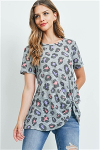 S10-16-3-PPT2278-GYLVD-1 - LOW GUAGE LEOPARD PRINT TWIST FRONT TOP- GREY/LAVENDER 1-2-0-1