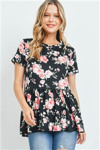 S9-20-3-PPT2281-BK-1 - CINCH WAIST FLORAL SWING TOP- BLACK 0-2-1-2