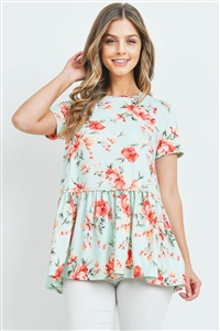 S9-20-3-PPT2281-MNT-1 - CINCH WAIST FLORAL SWING TOP- MINT 0-0-2-1