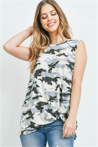S16-6-5-PPT2283-CHLGY - CAMO PRINT FRONT KNOT TANK TOP- CHARCOAL/GREY 1-2-2-2