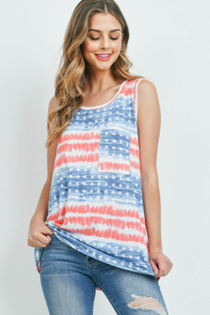 S15-3-1-PPT2286-NVCB - TIE DYE AMERICAN FLAG POCKET TANK TOP- NAVY/COMBO 1-2-2-2