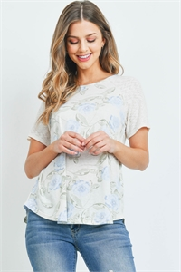S10-8-3-PPT2287-ECBLND - WAVE RIB DETAIL SLEEVES FLORAL PRINT TOP- ECRU/BLUE/NUDE 1-2-2-2