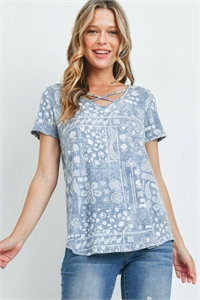 S11-19-2-PPT2290-DNM - CRISS-CROSS NECKLINE PAISLEY PRINT TOP- DENIM 1-2-2-2