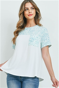 S9-18-2-PPT2294-IVBLMNTSG-1 - LEOPARD CONTRAST ROUND NECK POCKET TOP- IVORY-BLUE/MINT/SAGE 0-2-2-2