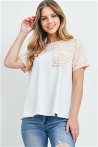 S9-18-2-PPT2294-IVDPCHRS-1 - LEOPARD CONTRAST ROUND NECK POCKET TOP- IVORY-D. PEACH/ROSE 0-2-2-1